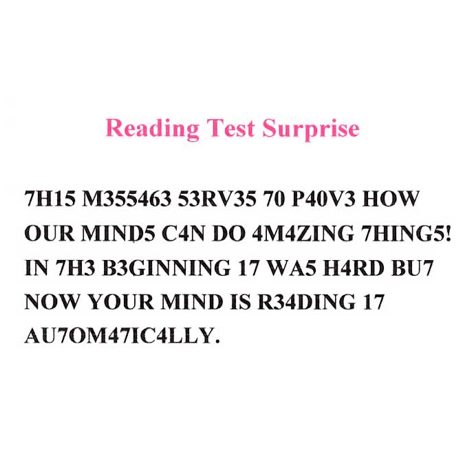 Reading Test Surprise